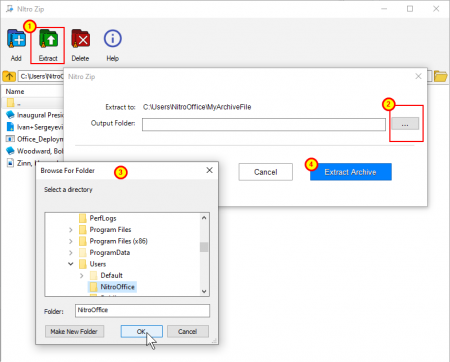 NitroZip Extract one or multiple file
